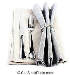 Elegant  Serving table setting place in silver and grey color is