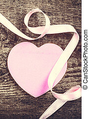 Valentines Day background with copyspace. Paper Heart and...