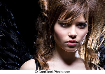 black angel - picture of lovely girl with black angel wings