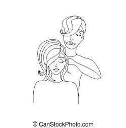 woman getting haircut by hairdresser