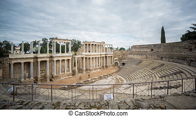 Time Lapse of Merida Roman Theatre, cloudy sky - Roman...