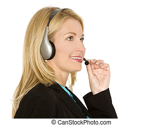 customer service - beautiful blond woman wearing headset on...