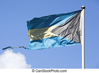 Old Bahamian Flag - Close view of the old flag of The...