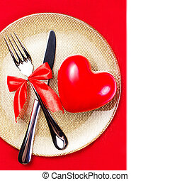 Valentines Day background with hearts on a golden plate over red