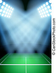 Background for posters night tennis stadium in the spotlight.