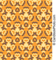 abstract geometric yellow orange brown seamless pattern