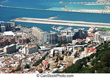 Elevated view of town, Gibraltar - Elevated view over town...