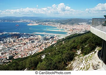 Elevated view of Gibraltar - View from cable car station of...
