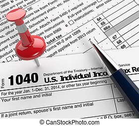 Usa taxes - close up view of 1040 form for usa taxes, with a...