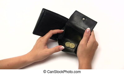 Filling an Empty Wallet - Throwing Euro coins into an empty...