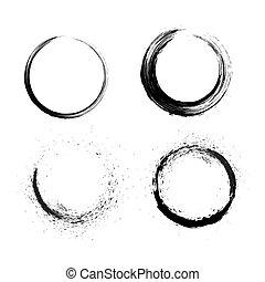 Grunge circle - Grunge brushes line circle
