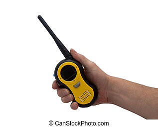 hand & walkie talkie - an isolated over white caucasian...