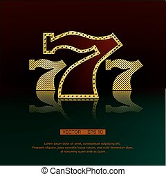 Golden 777 vector background - Casino symbol 777 vector...