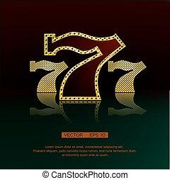 Golden 777 vector background - Casino symbol 777 vector...