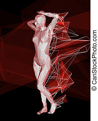 female body - colorful 3D female body on abstract background...