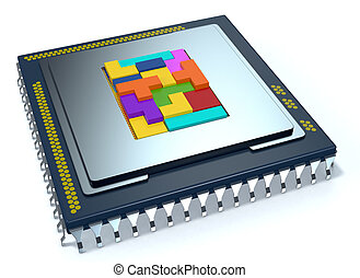 central processing unit, cpu - one CPU on white background,...