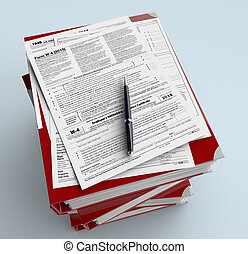 Usa taxes - top view of a stack of office file folders with...