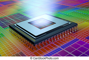central processing unit, cpu - close up view of a CPU on an...