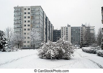 Winter snowfall in capital of Lithuania Vilnius city...