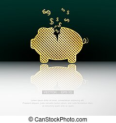 Piggy bank - Gold piggy bank. Vector background eps 10