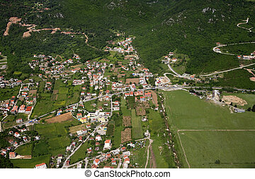 Montenegro - Kind on Budva from an airplane from the height...