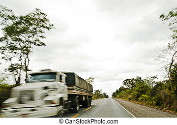 Cargo Truck drive in country road .