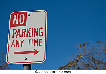 No parking any time - No parking sign with ad space in upper...