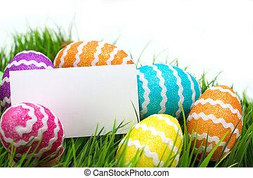 merkzettel, Eier, Ostern, leer