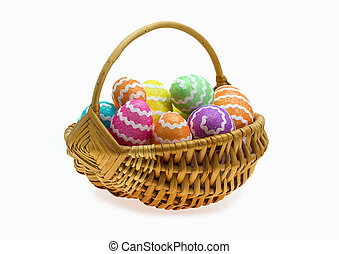 Easter basket with eggs over white