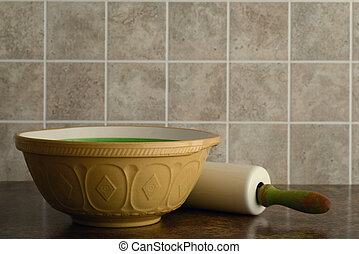 old bowl and rolling pin