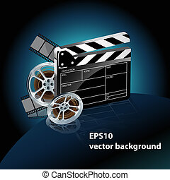 video film tape with cinema clapper and filmstrip on blue...