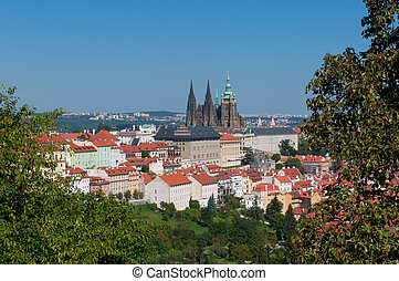 Prague city panorama with  St.Vitus Cathedral.