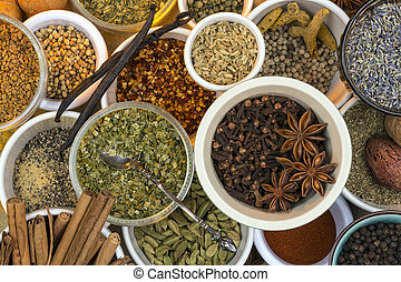 Dried Herbs and Spices - A selection of dried herbs and...