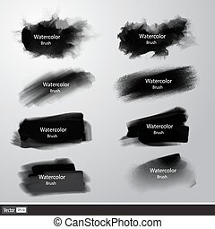 Vector set black paint brushes. Artistic strokes.