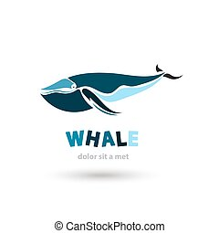 Stylized artistic whale icon Creative colorful silhouette...