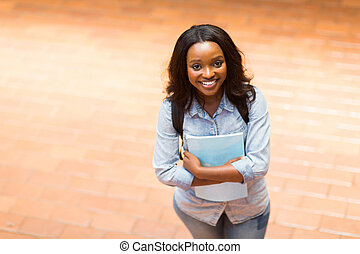 overhead view of african college student - overhead view of...