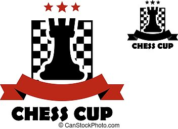 Chess cup logo or emblem template including black rook on...