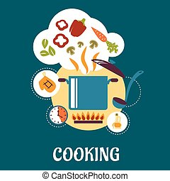 Cooking flat infographic with vegetable soup preparation -...