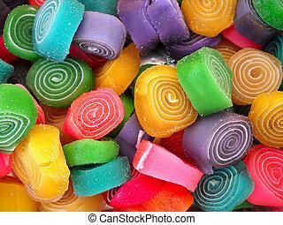 rolando, cor, bala doce
