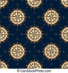 Seamless vintage compass rose pattern