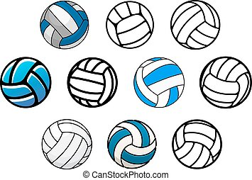 Volleyball balls in outline and cartoon style - Outline and...
