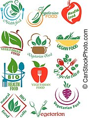 Vegetarian health food abstract design elements - Vegetarian...