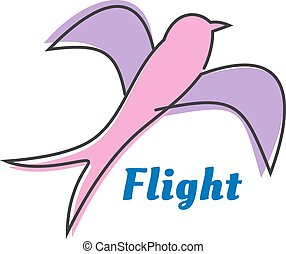 Flying swallow or swift pink silhouette - Abstract...