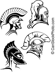Outline spartan warriors or gladiators heads - Heads of...