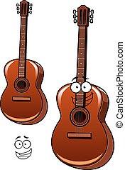 guitarra, acústico, carácter, caricatura, clásico