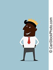 Cartoon black businessman in golden crown