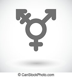 Bisexuals sign. Single flat icon on white background. Vector...