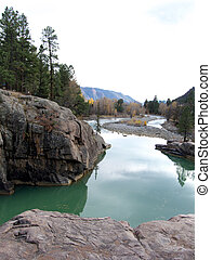Green River - The Animas River at Bakers Bridge in the...