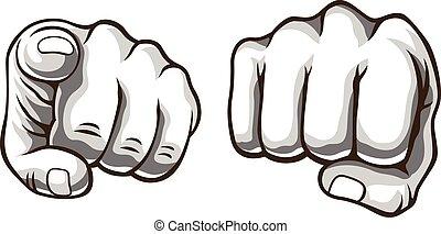 Vector hands comic set