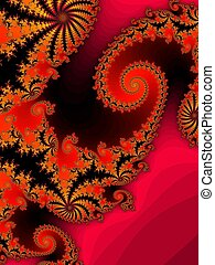 Red fractal spiral - Digital computer graphic - rendering...